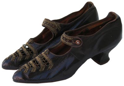 Shoes with instep straps, such as this example from 1905, evolved into the Mary Jane.