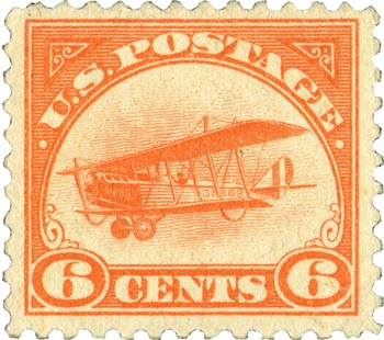 The Curtiss Jenny appeared on numerous stamps in 1918, including this 6-cent, orange version.