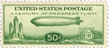 The 50-cent Century of Progress stamp from 1933.