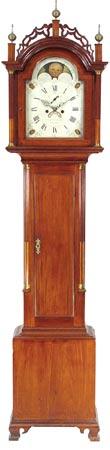 A rare tall case clock by Calvin Bailey, Hanover, Mass, circa 1805.