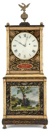 "A very rare Bride's model stenciled and eglomisé ""Massachusetts Shelf Clock"" by Ezekiel Jones, Boston, Mass, circa 1820."