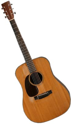 By the 1940s, Martin D-18s (this one is a left-handed model) had acquired an almost boxy shape thanks to its very wide waist.