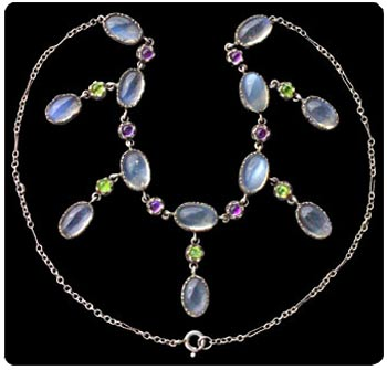 Necklace in British Suffragette colors, green, white, violet. Photo courtesy of Tadema Gallery, London.