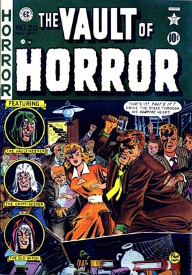"Comics like ""The Vault of Horror,"" 1951, created a public outcry that led to the Comics Code Authority in 1954."