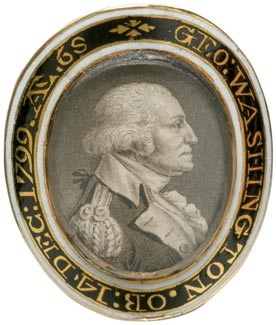 An engraved portrait of George Washington is the centerpiece of this gold memorial ring from about 1800.