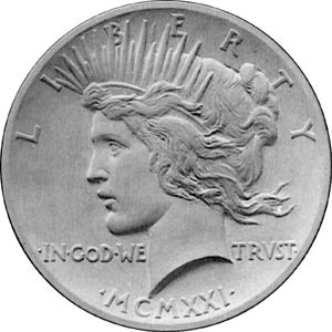 Francisci's original model for the Peace dollar's obverse had a more natural profile than coins that had come before.