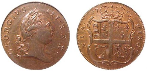 The obverse (left) and reverse (right) of a 1773 Virginia halfpenny.