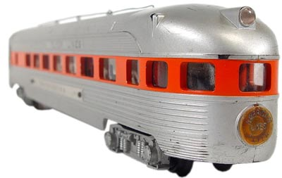 American Flyer trains that ran on two rails, such as this 963 Observation car, were in S gauge, which was smaller than Lionel's o gauge.