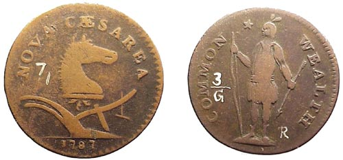The left depicts a New Jersey copper and the right image is a Massachusettes cent.