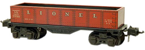 This Lionel gondola is a good example of the company's prewar, tinplate rolling stock. (Photo courtesy Graham's Trains, www.grahamstrains.com)
