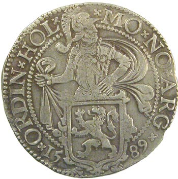 The obverse of a Lion Daalde that would have circulated in New Amsterdam.