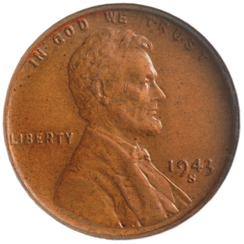 1943-S bronze Lincoln Cent obverse
