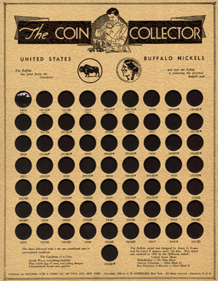 Colonial Buffalo Nickel collectors coin board