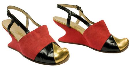 Red suede wedge mules designed by Salvatore Ferragamo, 1940, Italy