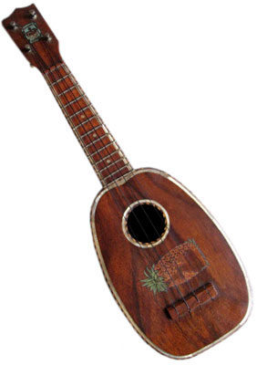 Kamaka Pineapple; circa 1920, koa wood, abalone shell inlay around body, fretboard and sound hole, pineapple decal applied sideways beneath sound hole, slightly larger body volume than soprano size. Also seriously rare.
