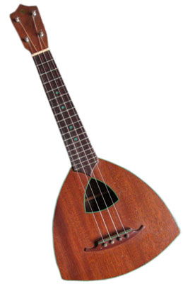 "Washburn/Lyon & Healy Shrine uke; circa 1927, mahogany body and neck, rosewood fretboard, green painted trim and sound hole and fret markers, fancy ""smiley"" bridge. Slightly larger than soprano size in body volume."