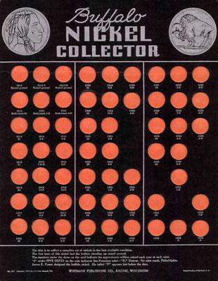 Whitman Buffalo Nickel collectors coin board