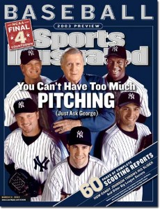 The Boss, in 2003, with his pitching staff: clockwise from top left, Jeff Weaver, Jose Contreras, Andy Pettite, Mike Mussina, and Roger Clemens.