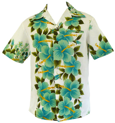 A hibiscus border print shirt from the 1970s. From the collection of Malcolm Montgomery, Pullman WA.
