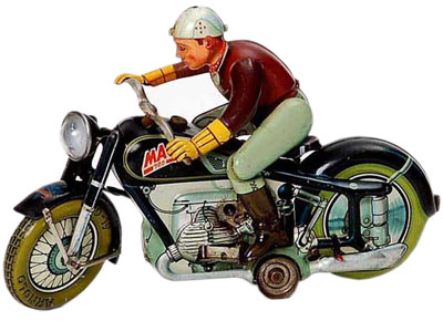 Arnold model motocycles include a rider that gets on the bike and drives it, then stops and gets off.