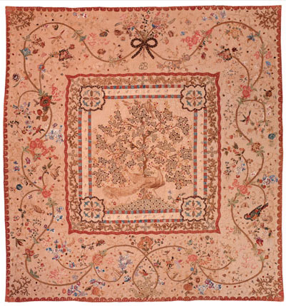 Cotton appliqué counterpane quilt, made by Eliza Bennis Waterford, Ireland, 1782. Bequest of Henry Francis du Pont.