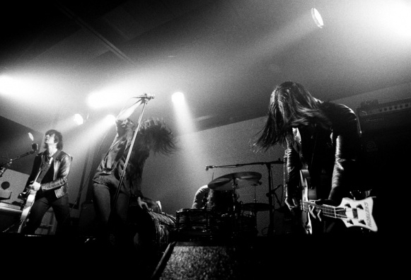 Jack White plays drums for The Dead Weather, seen here in their first public performance at Third Man Records.