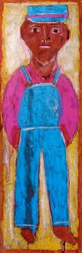 An untitled self portrait, circa 1987, by Jimmy Sudduth (1910-2007).