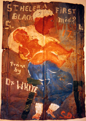 """First Black Midwife,"" circa 1980, by Sam Doyle (1906-1995), was painted on scrap tin."