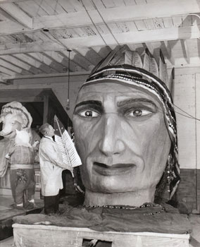 This 1946 photograph of a parade float under construction suggests a folk artist's hand.