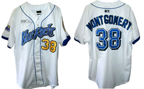 Mike Montgomery wore this jersey in his home games playing for the Wilmington Blue Rocks in 2009. As of 2010, he remains one of baseball's top pitching prospects.