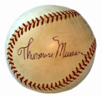 Thurman Munson's tragic death made autographed baseballs of his rare. A Munson ball is one of the few missing pieces in Bloomer's collection.