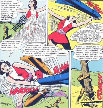 In 1965, the giantess Elasti-Girl, the strongest member of the Doom Patrol, stopped an attack of deadly missiles.