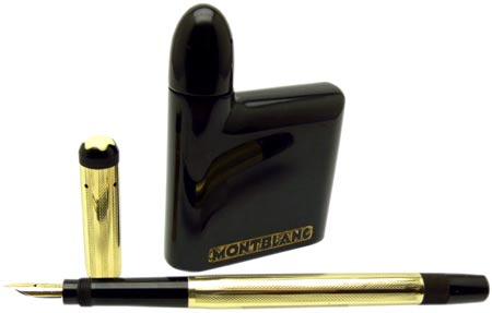 Inkbottles designed for traveling were sold with pens such as this No. 1 Rolled Gold Safety, produced from 1920 to 1927.