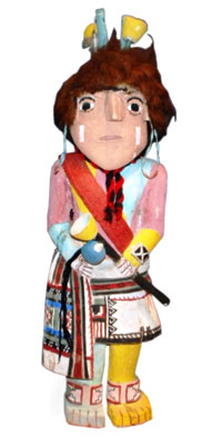 This rare, 21 ½-inch tall Flute Priest is by master carver Otto Pentewa. Details include a flute, rattle, earrings, bandolier, headdress, and buffalo hair.