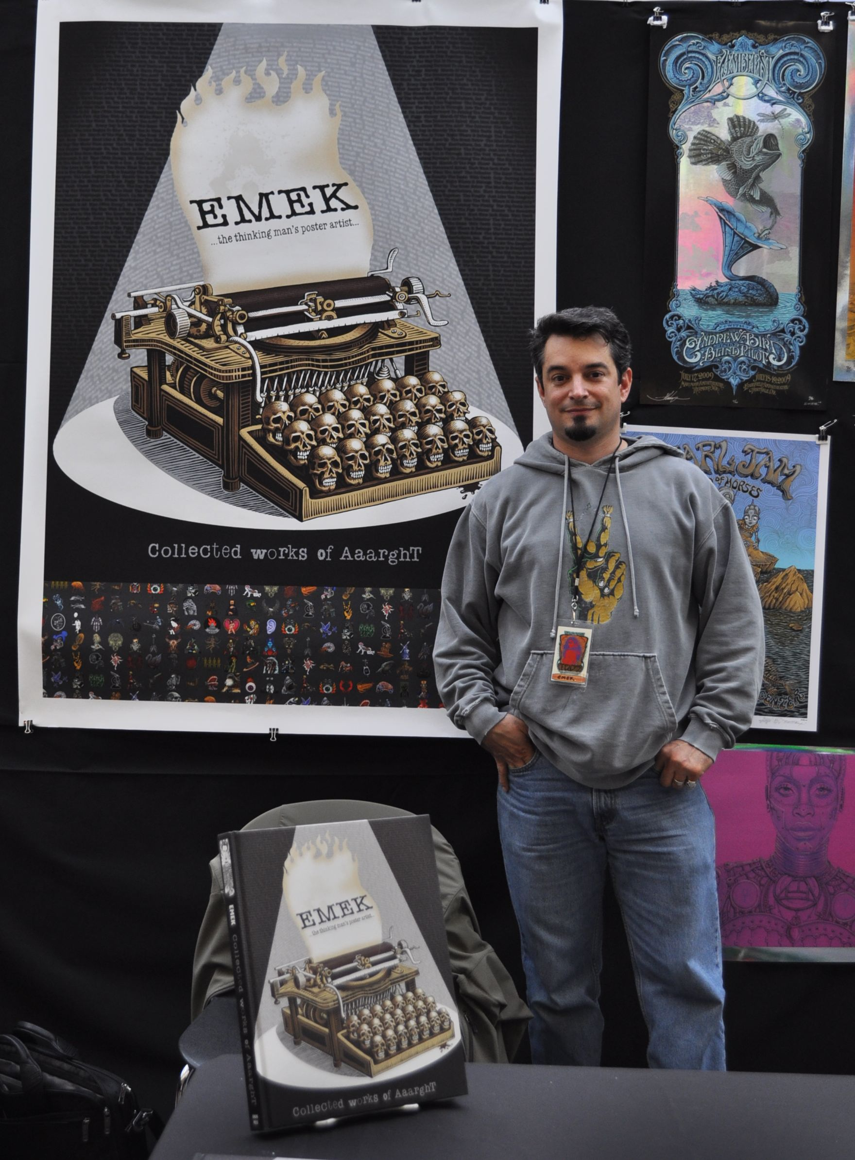 By the end of the show, even the poster advertising Emek's new book had sold.