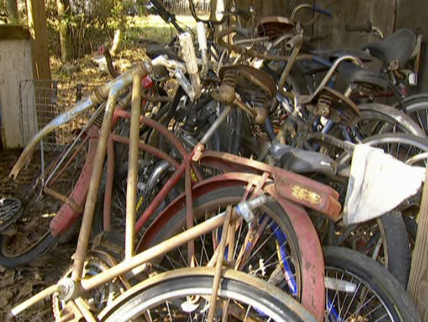 One of Mike's favorite sights: a pile of bicycles just waiting to be picked.