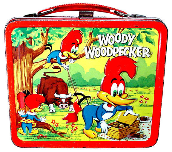 Cartoon characters such as Woody Woodpecker were mainstays of vintage lunch boxes.