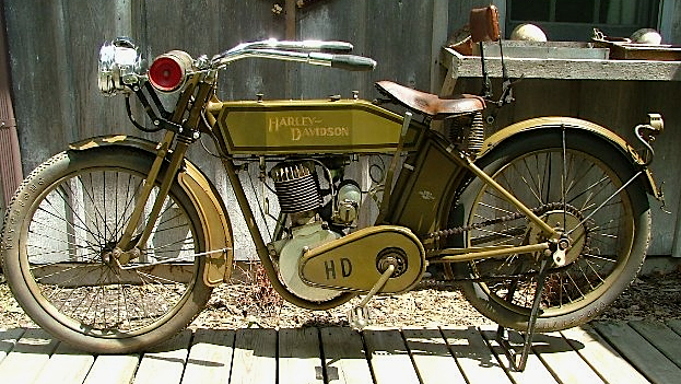 This 1913 Harley-Davidson lives in Mike's living room.