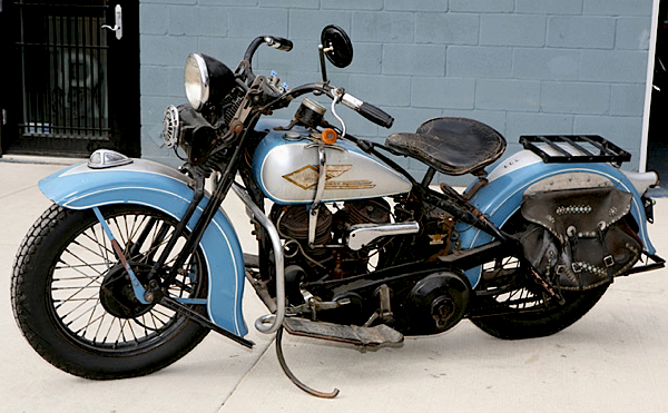 Mike's favorite bike, or at least the one he rides most often, is his 1934 Harley-Davidson VL.