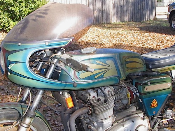 This 1971 BSA triple, dubbed Mad Max, is Mike's latest restoration project, although he has no plans to touch the paint.