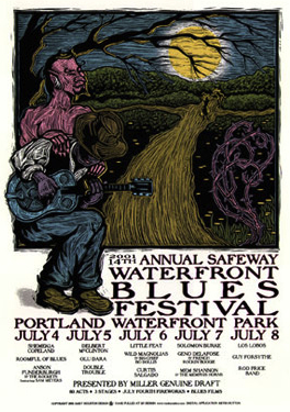 This 2001 image for Portland's Waterfront Blues Festival depicts Robert Johnson's fabled meeting with the devil at the crossroads.