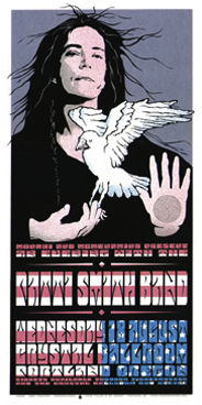 Patti Smith is an American voice for peace, so Houston's poster for one of her shows reflects that.