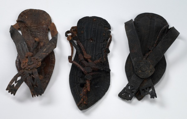 A trio of leather sandals from the Coptic period, Egypt.