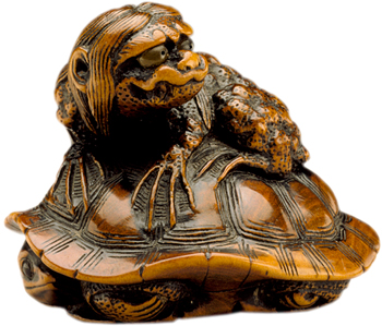 Naitō Toyomasa carved this kappa creature riding a turtle in the first half 19th century.