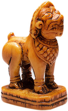 A seal carved as a Southeast Asian-style lion from the 17th century.