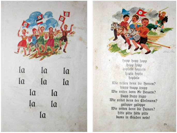 3. A pair of pages from a 1935 German spelling book shows how the swastika was integrated into daily German life.