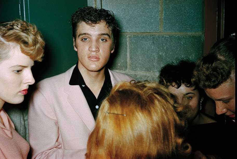 Elvis Presley signing autographs backstage at St. Michael's Hall in Broadview Heights, October 20, 1955.