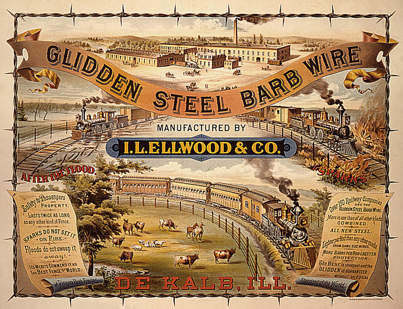 The virtues of barbed wire are touted in this 19th-century advertisement. Photo from the Ellwood House Museum.