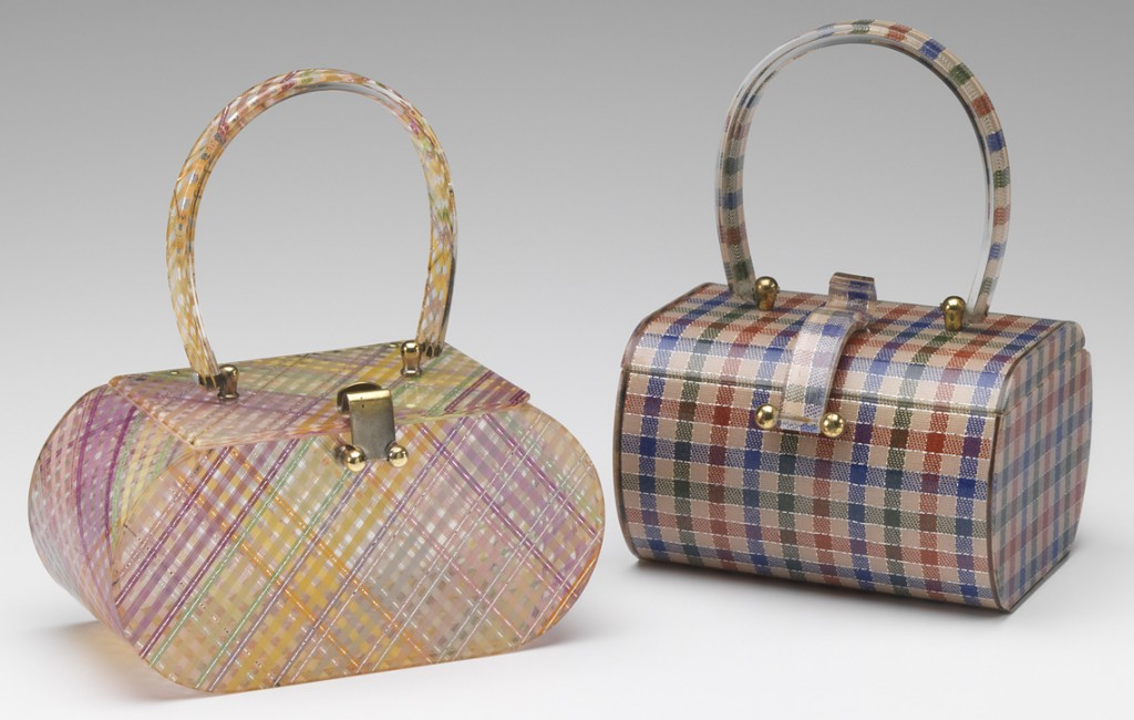 Above, a pair of laminated Lucite handbags by Wilardy (style #876 on the left, #750 on the right). At top, a Tiger clutch, lunchbox purse, and lipstick holder, also by Wilardy.
