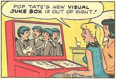 "A Scopitone-like machine made it onto the pages of ""Archie."" The video jukebox might have survived if it had featured acts like The Beatles, as this panel suggests."